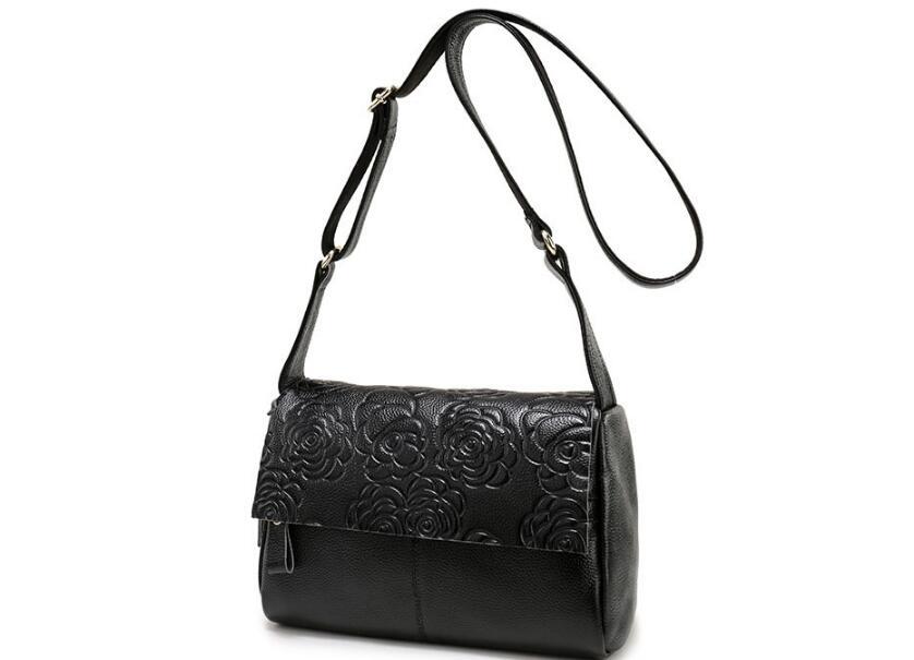 2018 stile Coreano del cuoio genuino piccolo sacchetto del messaggero delle donne di stampa del fiore della signora del sacchetto di spalla breve flap bag in primo luogo strato