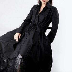 Image 2 - [Eem] 2020 yeni bahar sonbahar yaka uzun kollu düğme bandaj dikiş pileli düzensiz gömlek elbise kadın moda gelgit JY778