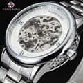 FORSINING Luxo Relógio de Aço Inoxidável Homens de Ouro Romana Esqueleto de Prata Relógio Automático Oco Mecânica Relógios Do Presente Do Feriado