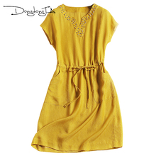 DONGDONGTA 2017 Woman Summer Dress Plus Size Silk Dress Female Casual Dress A-Line Short Sleeve Mini Dress V-Neck Diamonds