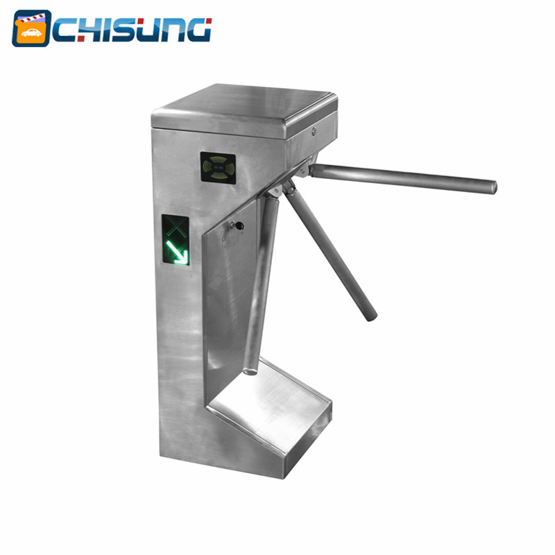 RFID access control system Electric Semi-Automatic Tripod Turnstile for pedestrian office automatic tripod turnstile with built in electronics and 2 readers remote control panel for access control system