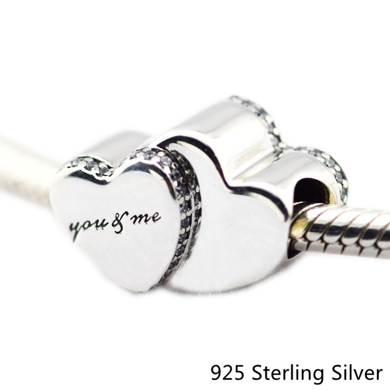 Authentic 925 Sterling Silver Jewelry Heart to Heart Original Fashion Chamrs Beads Fits Pandora Bracelets CKK