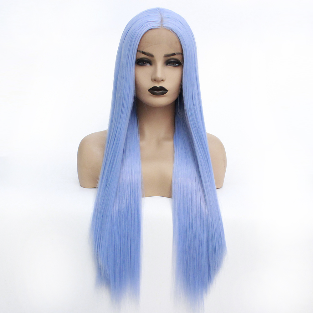 Synthetic Lace Front Wig Women s Straight Light Blue Heat Resistant Hair Natural Hairline Wig 22