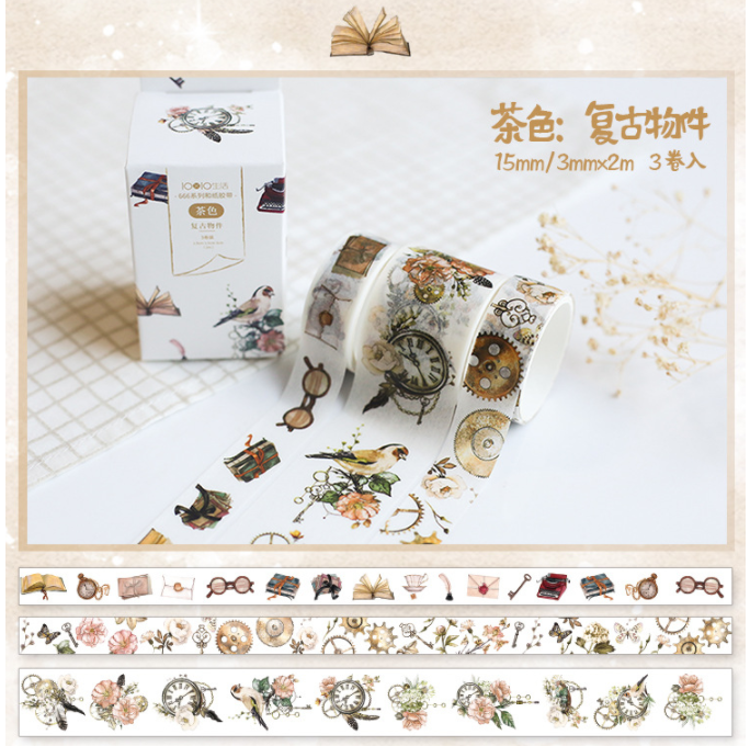 3 Pcs/pack Vintage Object Bullet Journal Gilding Washi Tape Set Adhesive Tape DIY Scrapbooking Sticker Label Masking Tape