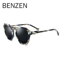 BENZEN Polarized Sunglasses Women Handmade Big FrameSun Glasses For Driving Vintage Ladies Shades UV Protection With Case 6607