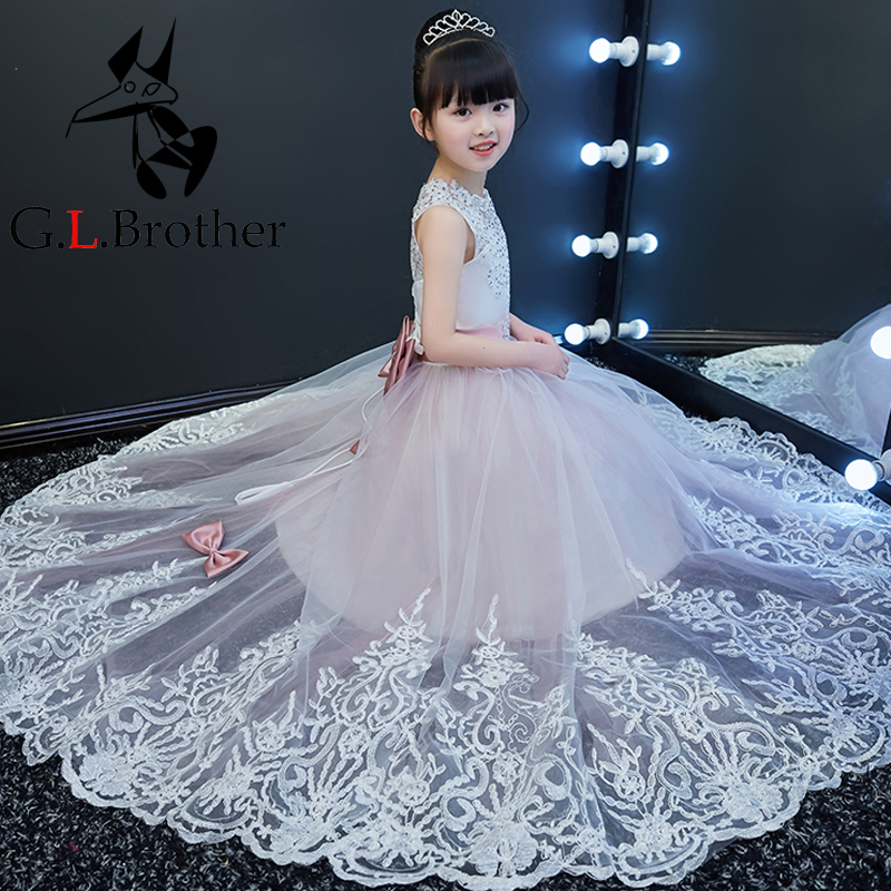 Girls Party Dresses Elegant 2018 Emboridery Long Tail Princess Girl Dress Lace Up Children Wedding Birthday Gown With Bow S187 girls party dresses elegant 2017 summer short sleeve flower long tail princess girl dress children kids wedding birthday dresses