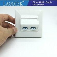 Placa de enchufe de pared de fibra, Panel de fibra óptica SC LC ST, enchufe de salida 86 con adaptador de acoplador, 10 unids/lote