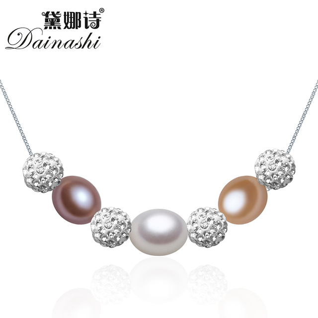 Dainashi real 925 sterling silver box chain jewelry with freshwater pearl necklace for women 8-9mm AAAA natural pearl design