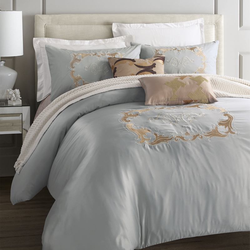 Svetanya Embroided Washed Silk Cotton Bedding Sets Queen