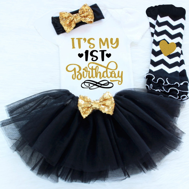 4 Pcs Newborn Baby Girl Clothing Sets Headband+Pullover Vest+Tutu Dress+Leggings 1st Birthday Party Costume For Infant Girls new baby girl clothing sets lace tutu romper dress jumpersuit headband 2pcs set bebes infant 1st birthday superman costumes 0 2t