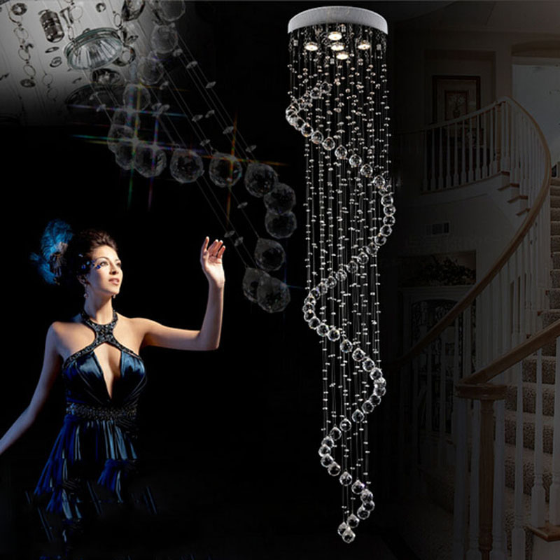 modern Led European living room lights double staircase crystal chandelier modern round lighting long hanging lamps