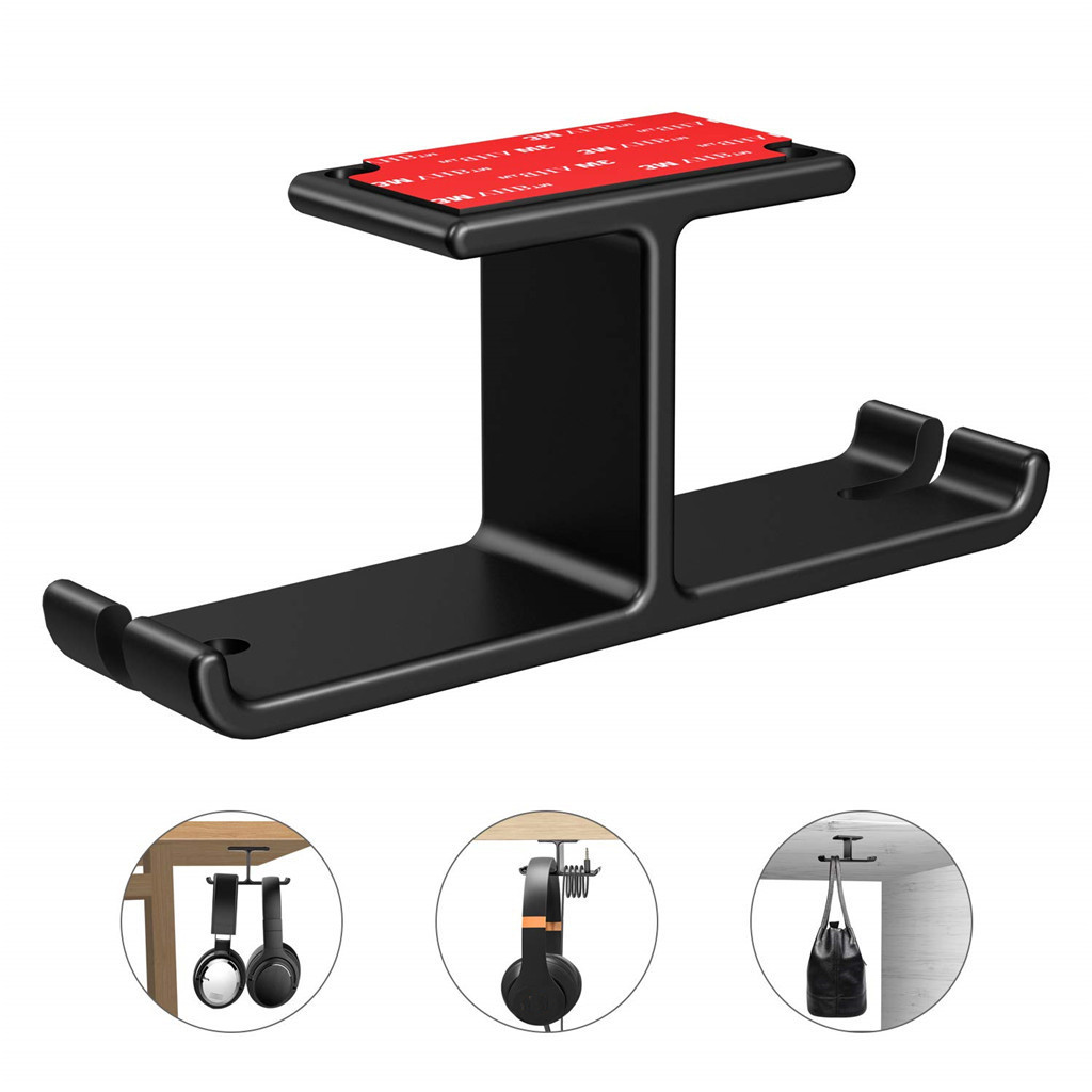 Aluminum Headphone Stand Hanger Hooks Tape Under Desk Dual Headset Mount Holder Hook Home Office Working Desk Essential Hook