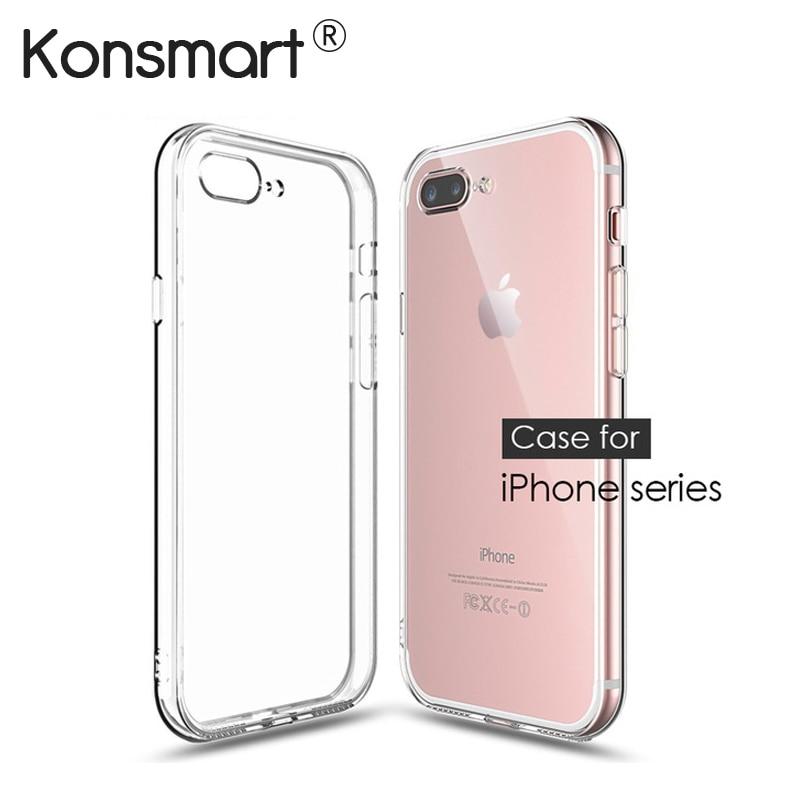 Konsmart ультра тонкий силиконовый прозрачный чехол телефона для iPhone 6 6 S 7 Plus silicon <font><b>case</b></font> для iphone 4 4S 5 <font><b>5S</b></font> SE 8 плюс 10 X