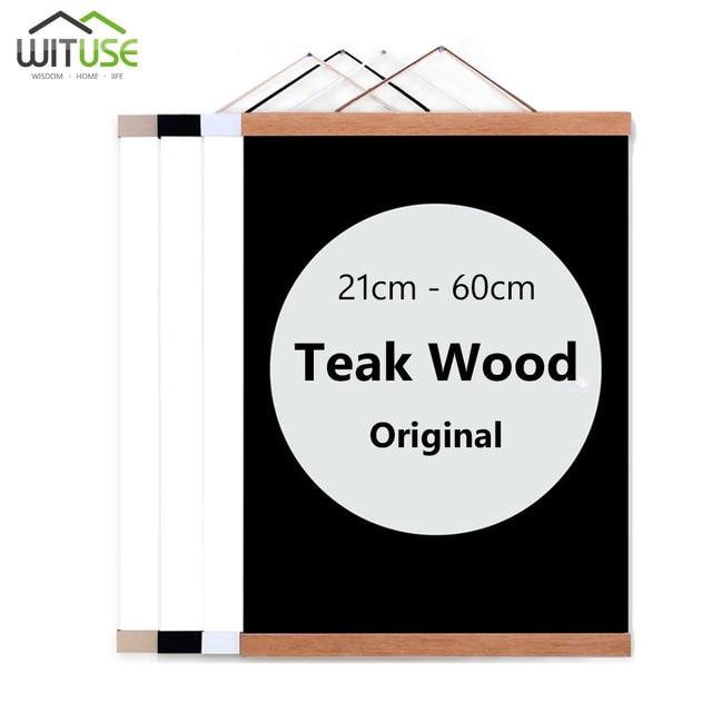 Magnetic Wooden Poster Hanger Photo Frame White Black DIY Picture ...