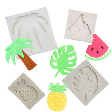 TTLIFE Summer Coconut Tree Silicone Mold Watermelon Pineapple Tropical Leaves Chocolate Candy Mould Fondant Cake Decorating Tool