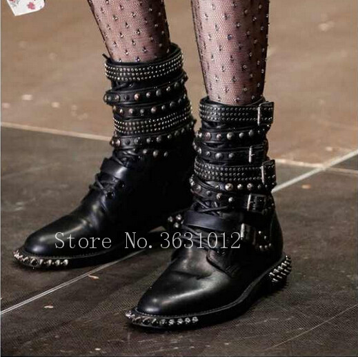 2018 Newest Top Quality Big Buckles Strappy Spike Rivets Studs Women Boots Motorcycle Boots Punk Cool Shoes Woman 100% copper die casting 15 11mm tower head studs with screw base for punk bags hardware high quality rivets accessories