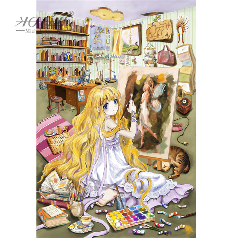 Michelangelo Wooden Jigsaw Puzzles 500 1000 1500 2000 Pieces Dream-drawing Girl Cartoon Painting Educational Toy Gift Home Decor
