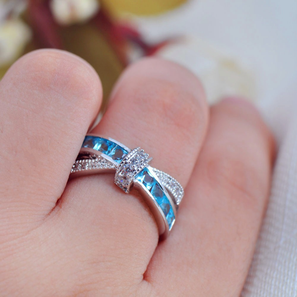 Top Quality Light Blue Female Ring White Gold Filled Jewelry Vintage Wedding Rings For Men And Women Bijoux Femme-in Wedding Bands from Jewelry & ...