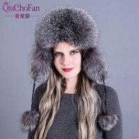 Russian leather bomber leather hat women winter hats with earmuffs trapper earflap cap women real raccoon fur black fox