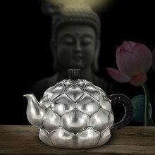 Hundred-year-old Artisan Silver-making Teapot Foot Silver 999 Tea Ceremony Family Kungfu Set Heart-born Lotus