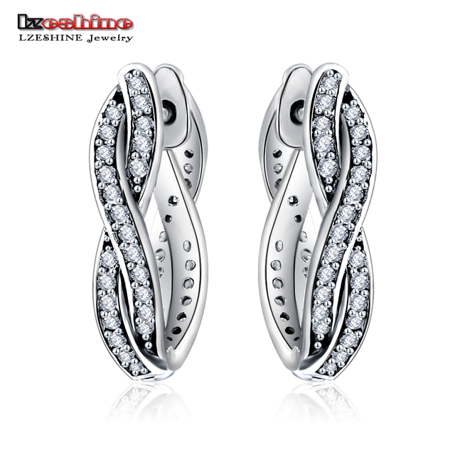 LZESHINE Sterling-silver-jewelry Hoop Earrings with AAA Cubic Zironia Twist Shape Authentic 925 Sterling Silver Jewelry PSER0059