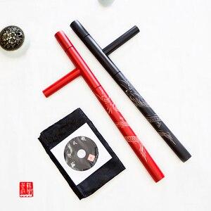 Image 1 - (2 cái/lốc) T lần lượt đôi Tonfa võ nghệ thuật đôi Guaizi duckweed khắc gỗ stick lần lượt đông chuyển sang màu đỏ đen bằng gỗ Tonfa