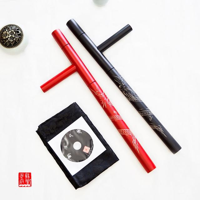 (2 cái/lốc) T lần lượt đôi Tonfa võ nghệ thuật đôi Guaizi duckweed khắc gỗ stick lần lượt đông chuyển sang màu đỏ đen bằng gỗ Tonfa
