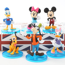 6pcs/set Disney Animation Kawaii Mickey Mouse Plastic Toy Figures Daisy Donald Duck Goofy Minnie action figure toys for children