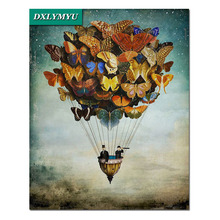 Butterfly hot air balloon diamond paintings full square rhinestone cross stitch 5d diy diamond embroidery vast sky home dazzle butterfly prints diamond paintings