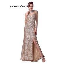 Honig Qiao Gold Pailletten Prom Dresses Long sleeves 2016 Seite Split Günstige bodenlangen Abendkleider Robe De Soiree Natürlich foto