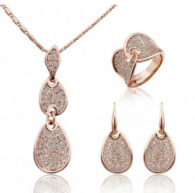 Ring Necklace Jewelry-Sets Gold Gift Fashion Women Rose 18-Kt OMH Water-Drops TZ105 Girls