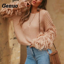 Genuo Autumn Winter Tassel Sweater Long Sleeve Casual Sweater Female Loose Pullover O Neck Knitted Sweaters Crop Tops цена