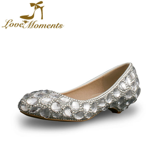 e5a95612bf7 Fashion Silver Crystal Wedding Shoes 2cm Low Heel Cinderella Prom Pumps  Performance Show Event Shoes Cheap Bridesmaid Shoes