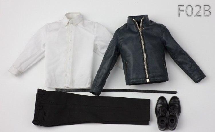 """Échelle 1//6 CHEMISE NOIRE Pantalon en Cuir Set Pour 12/"""" figure masculine Poupée Accessoire"""