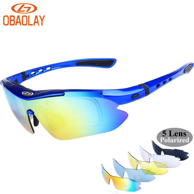 Prix pour Obaolay polarisées vélo lunettes 5 lentille vélo lunettes lunettes uv400 sport en plein air lunettes de soleil hommes femmes oculos gafas ciclismo
