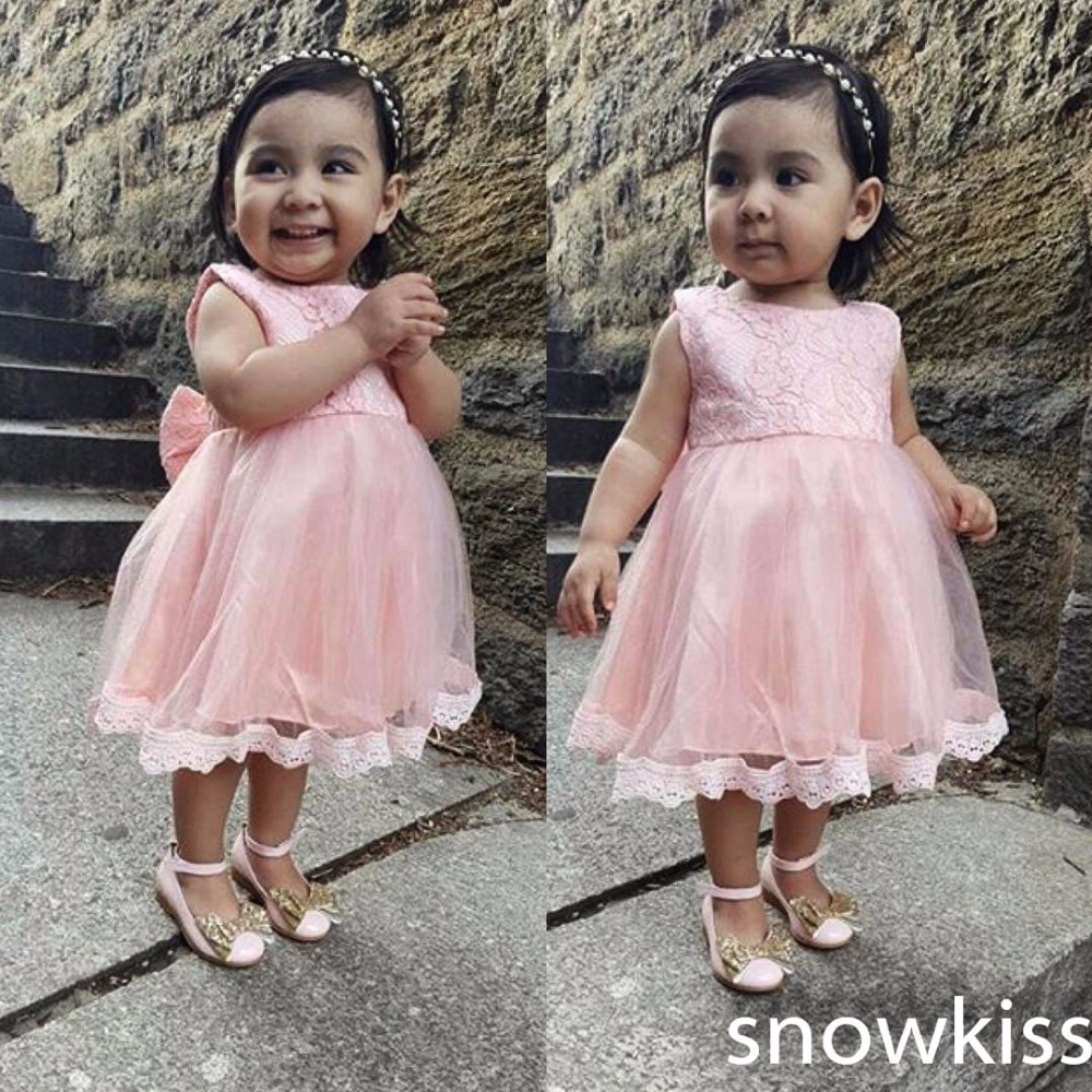 2017 real photo pink tulle short princess children costumes O-neck lace and draped with butterfly kids dress for birthday party