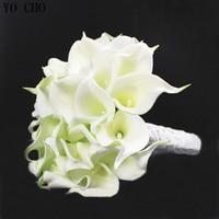 Wedding flowers bridal bouquets PU bride holding flower Ivory white artificial Calla Lily flower wedding bouquet (30pcs/bouquet)