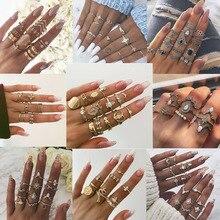 VKME, conjunto de anillos Vintage para mujer, Ópalo bohemio, Metal, Drop shipping, dedo, joyería para mujer, regalos