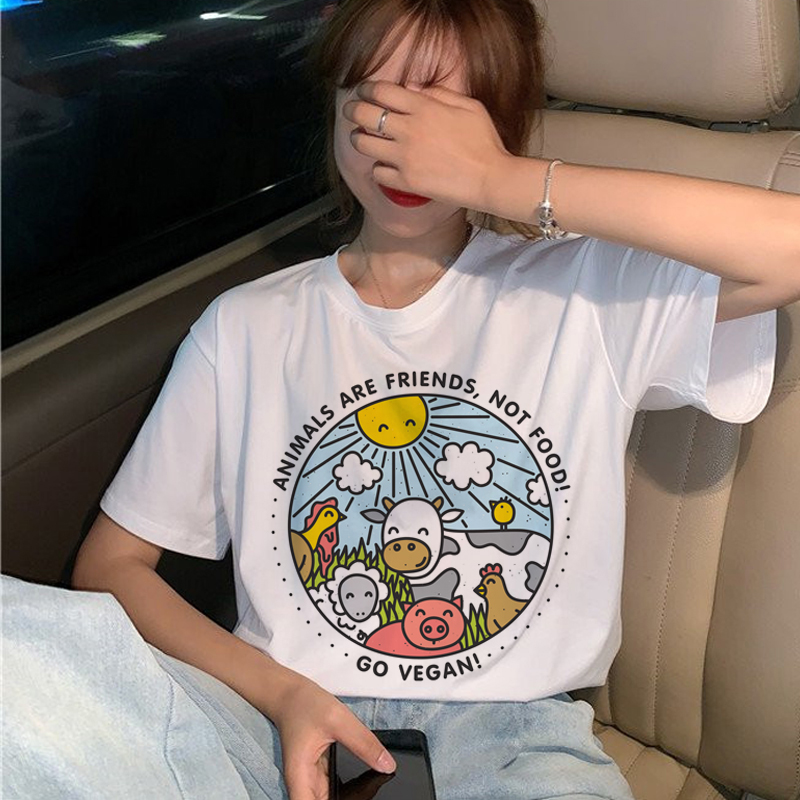 Cute Vegan Harajuku T Shirt Women Ullzang Kawaii Save The Bees T-shirt 90s Graphic Cartoon Tshirt Fashion Summer Top Tees Female