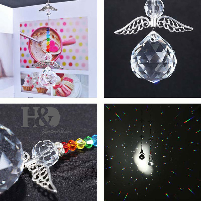 H&D Chakra Crystal Guardian Angel Suncatcher- Rainbow Maker Collection,Hanging Suncatcher Home Wedding Decoration