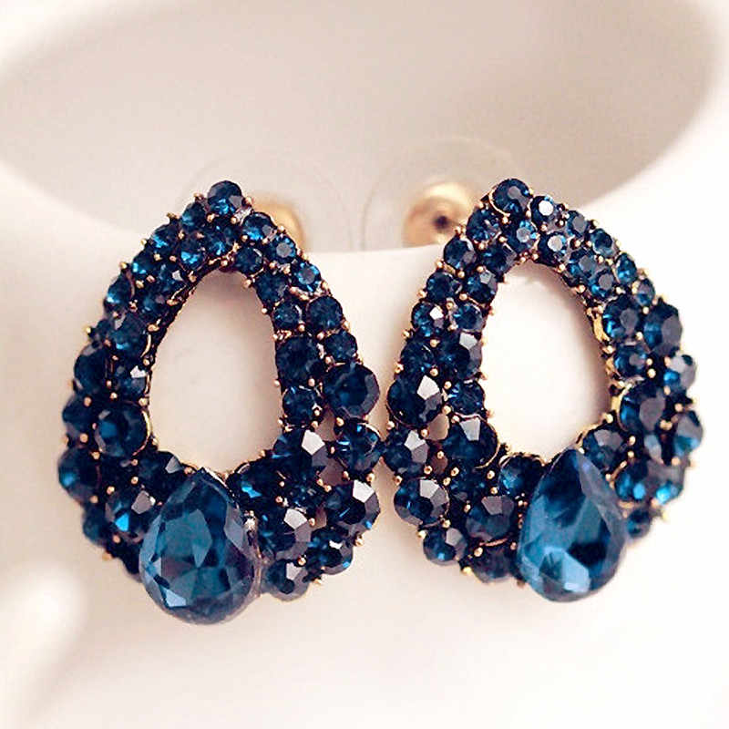 2019 Fashion Brincos Perlas New Girls Earing Bijoux Blue Zircon Stud Earrings For Women Wedding Jewelry Earings One Direction