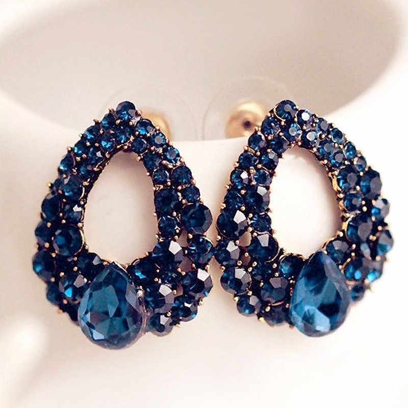 2019 אופנה Brincos פרלאס חדש בנות חרישת Bijoux כחול זירקון Stud עגילים לנשים חתונה תכשיטי עגילי אחד כיוון