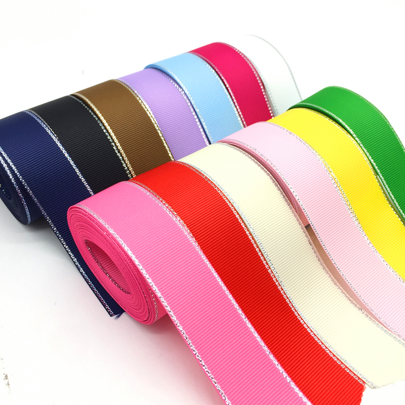 10mm ribbon woven with hearts x 5 mts Choice of colour