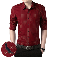DUDALINA 2017 New Arrival Camisa Reserved Slim Fit Shirts long-Sleeved Shirt Polka Dot Casual Dress Shirts plus SIZE M-5XL