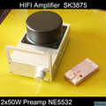 HIFI Amplifier Stereo Two SK3875 with Preamp NE5532 2 x 50W Whole Aluminum Casing Gold and Silver