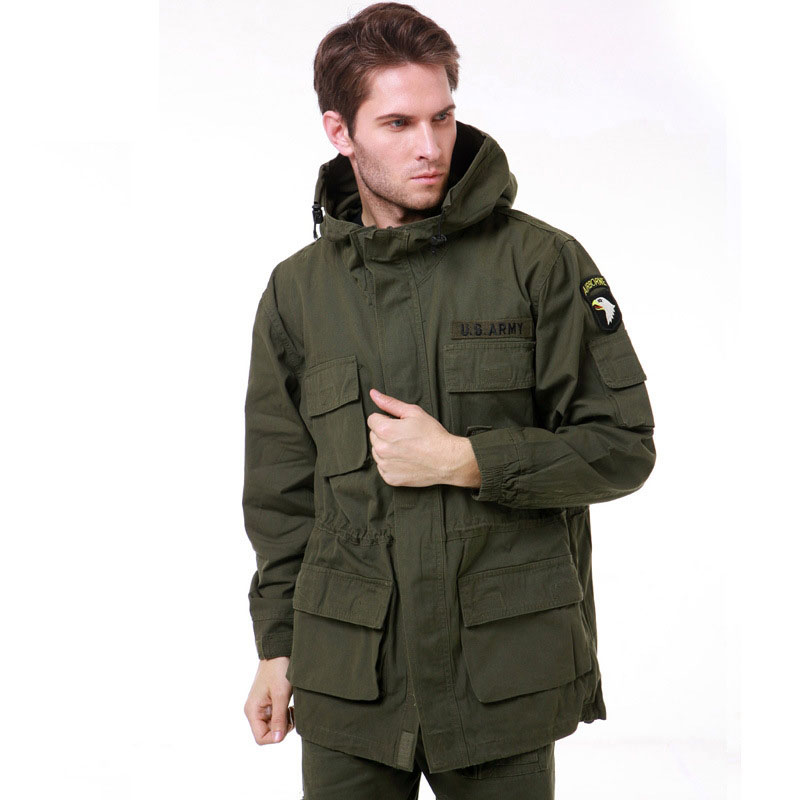 Military Uniform Men's M65 Trench Fat Camouflage Slim Waist Classic Wadded 101st Airborne Force Parka Jacket Coat Men BF802