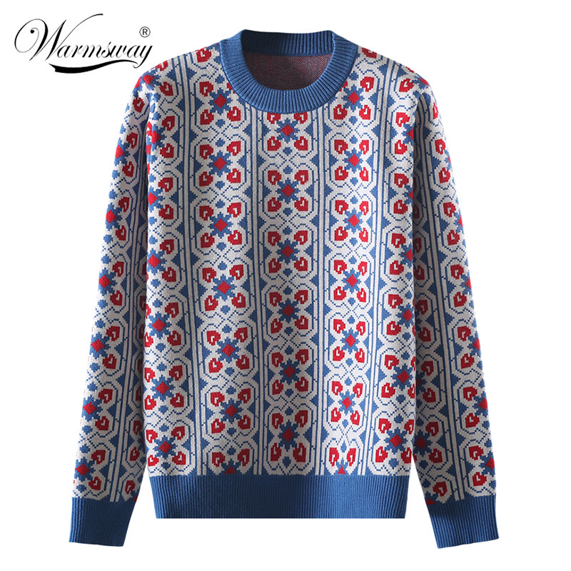 Vintage Sweet Multicolored Plaid Jacquard Knit Sweater Women Loose Long Sleeve Ladies Pullovers Casual Pull Femme  C-424