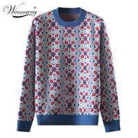 Vintage doce multicolorido xadrez jacquard malha suéter feminino solto manga longa senhoras pullovers casual pull femme C-424