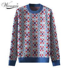 Vintage doux multicolore Plaid Jacquard tricot Pull femmes à manches longues en vrac dames pulls décontracté Pull Femme C 424