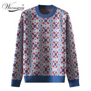 Image 1 - Vintage doux multicolore Plaid Jacquard tricot Pull femmes à manches longues en vrac dames pulls décontracté Pull Femme C 424